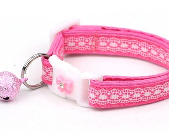 Lace Cat Collar - Pretty White Lace on Pink - Small Cat / Kitten Size or Large Size