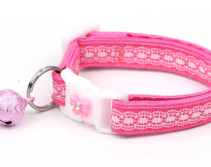Lace Cat Collar - Pretty White Lace on Pink - Small Cat / Kitten Size or Large Size B48