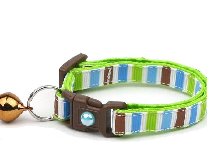 Striped Cat Collar - Green, Brown, and Blue Stripes - Small Cat / Kitten Size or Large Size