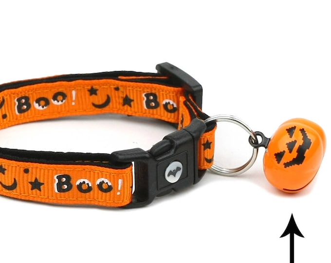Halloween Cat Collar - Boo - Large Size or Small Cat / Kitten Size