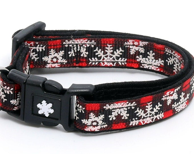 Winter Cat Collar -Snowflakes on Red Plaid  - Breakaway - Kitten or Large Size B73D110