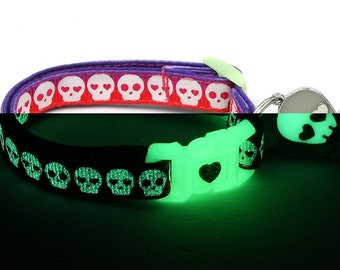 Skull Cat Collar - Glowing Skulls on Purple and Orange- Small Cat / Kitten or Large Cat Collar - Glow in the Dark B52D84