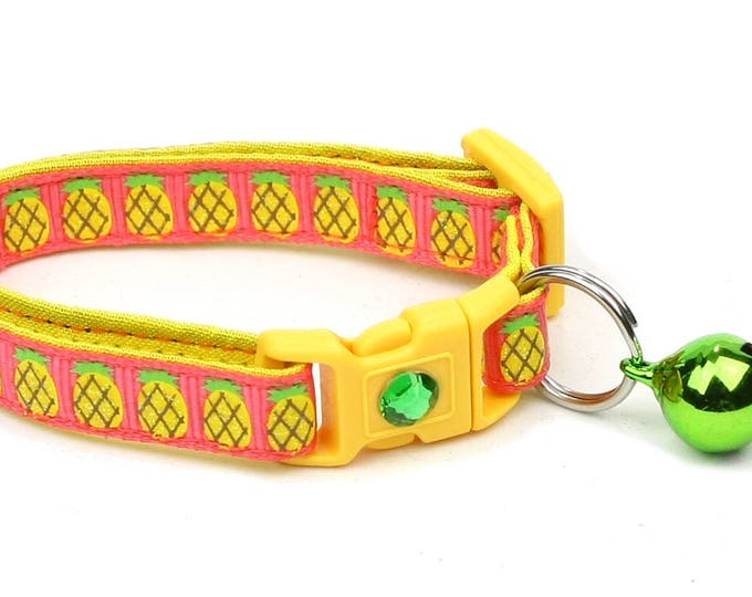 Fruit Cat Collar - Pineapples on Pink - Small Cat / Kitten Size or Large Size