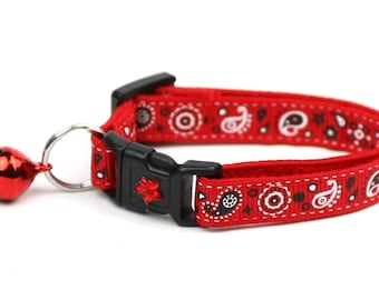 Bandana Cat Collar - Red Bandana Paisley - Kitten or Large Size - Cowboy - Western
