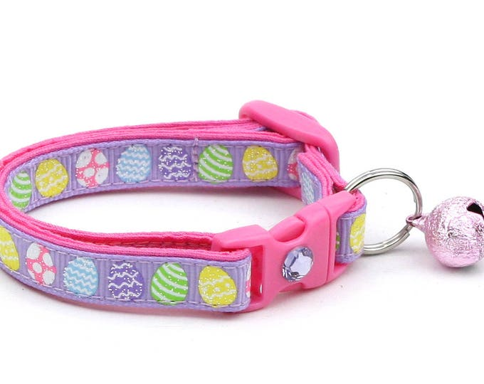 Easter Cat Collar - Patterned Easter Eggs on Purple - Kitten or Large Size