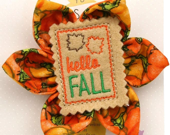Thanksgiving Dog Bow - Hello Fall on Pumpkins - Flower - Collar Blossom - Large Size