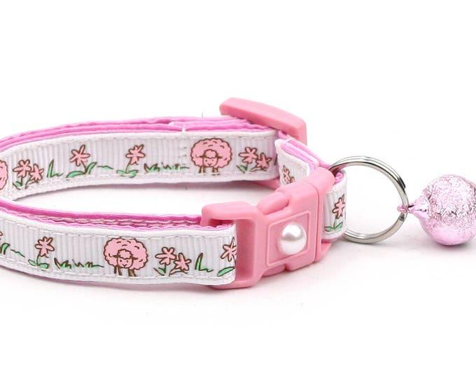 Sheep Cat Collar - Cute Pink Sheep on White - Kitten or Large Size