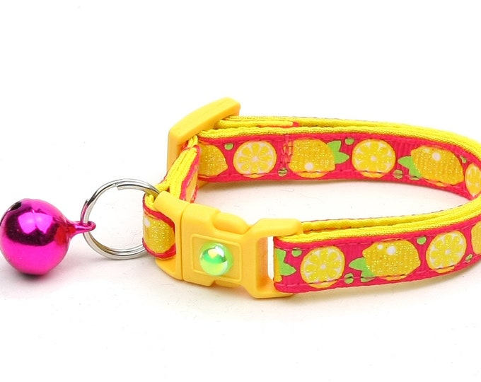 Fruit Cat Collar - Sourpuss - Lemons on Pink - Small Cat / Kitten Size or Large Size