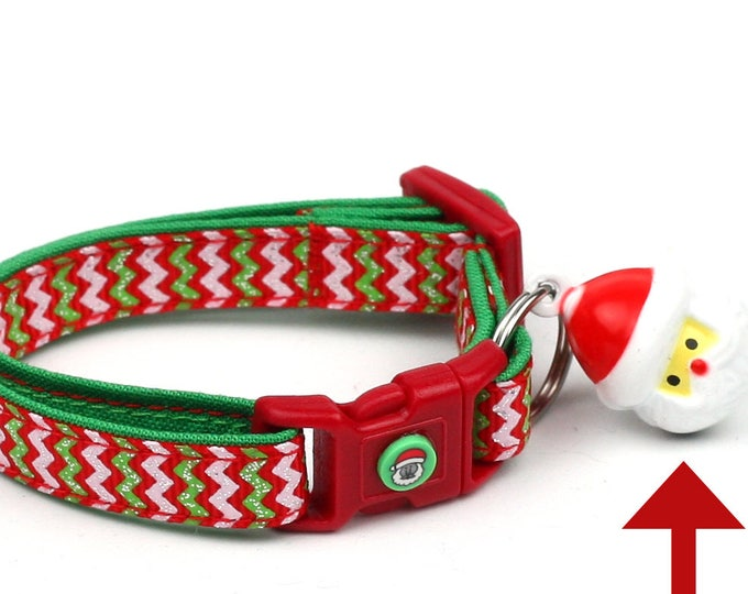Christmas Cat Collar - Red and Green Chevrons - Kitten or Large Size