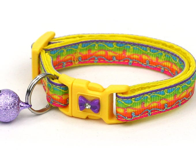 Colorful Cat Collar -Rainbow Doodle Swirls -Small Cat / Kitten Size or  Large Size Collar