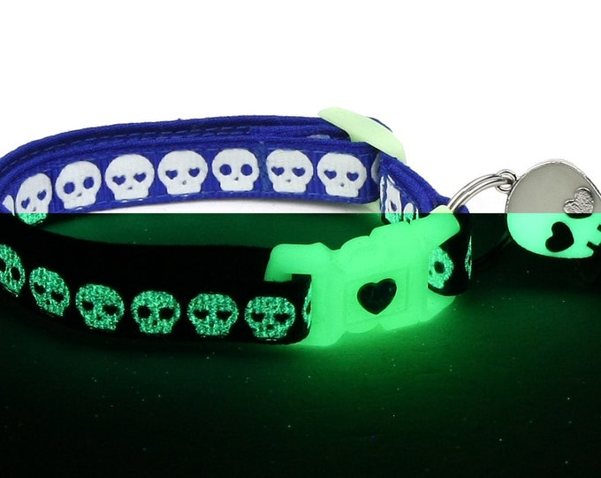 Skull Cat Collar - Glowing Skulls on Royal Blue - Small Cat / Kitten or Large Cat Collar - Glow in the Dark