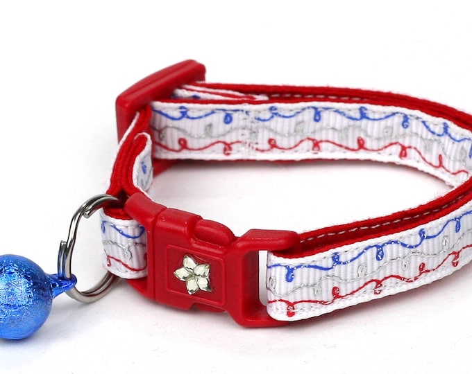 Fourth of July Cat Collar - Flag Doodles - Red White and Blue - American Flag - Kitten or Large Size