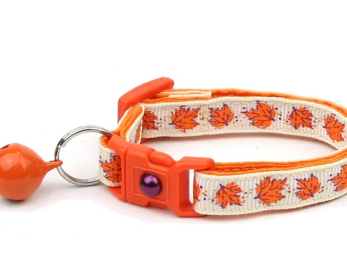 Fall Cat Collar - Orange Leaves on Cream - Small Cat/ Kitten Size or Large Size Collar