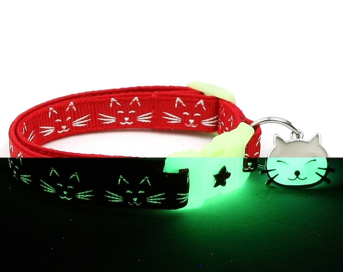 Glow in the Dark Cat Collar - Glowing Cat Faces on Red - Breakaway Cat Collar - Kitten or Large size