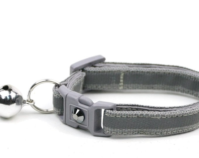 Reflective Cat Collar - Grey with Refective Stripe - Small Cat / Kitten Size or Large Size Collar