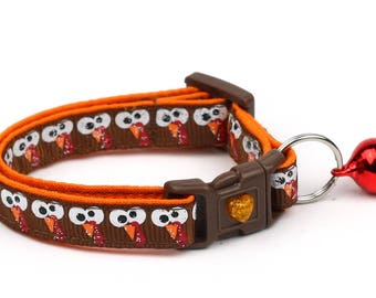 Thanksgiving Cat Collar - Googly Eye Turkeys -Small Cat / Kitten or Large Size Cat Collar B105D101