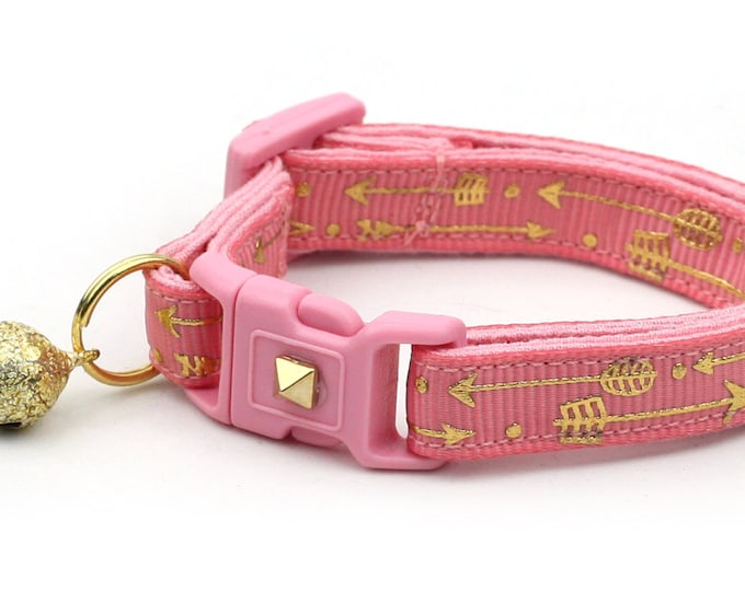 Arrow Cat Collar - Metallic Gold Arrows on Coral Pink - Small Cat / Kitten Size or Large Size - Woodland - Boho - Blush