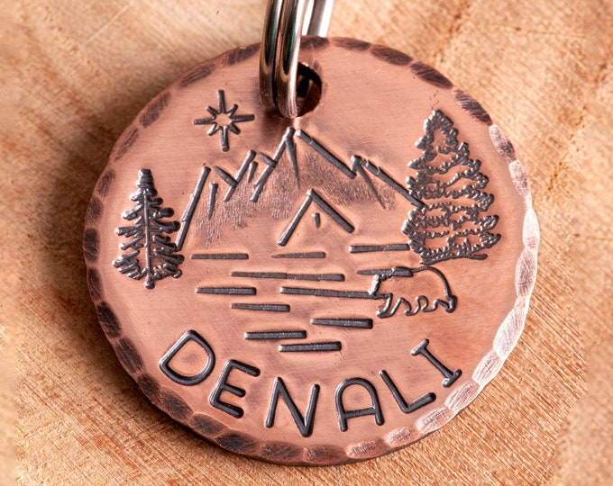 Mountains Pet ID tag - Denali Dog Name Tag - Adventure Stamped Cat ID Tag -- Lake ID Tag -- Trees Tag -- Custom Pet Tag