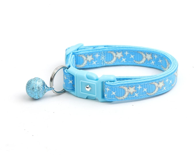 Moon Cat Collar - Silver Moons and Stars on Blue - Breakaway Cat Collar - Kitten or Large size - Glow in the Dark B21