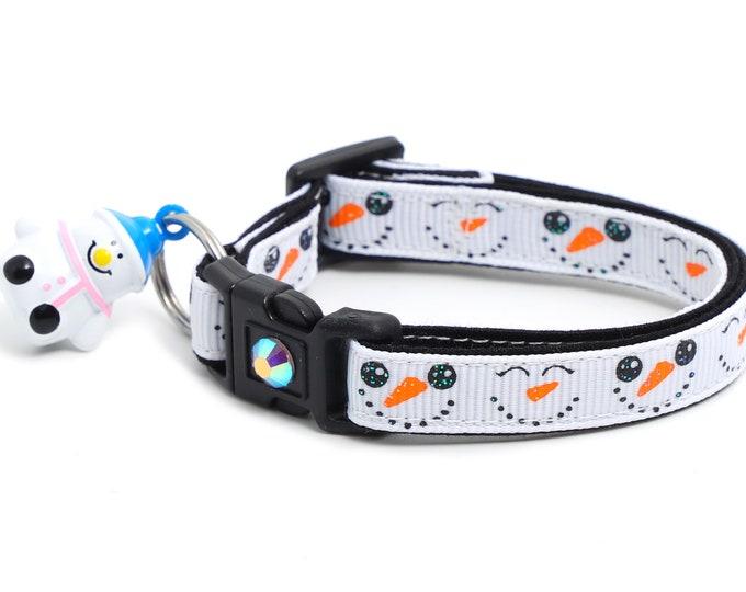 Snow Cat Collar - Snowman Faces - Small Cat / Kitten or Large(standard) Size Collar B32D105