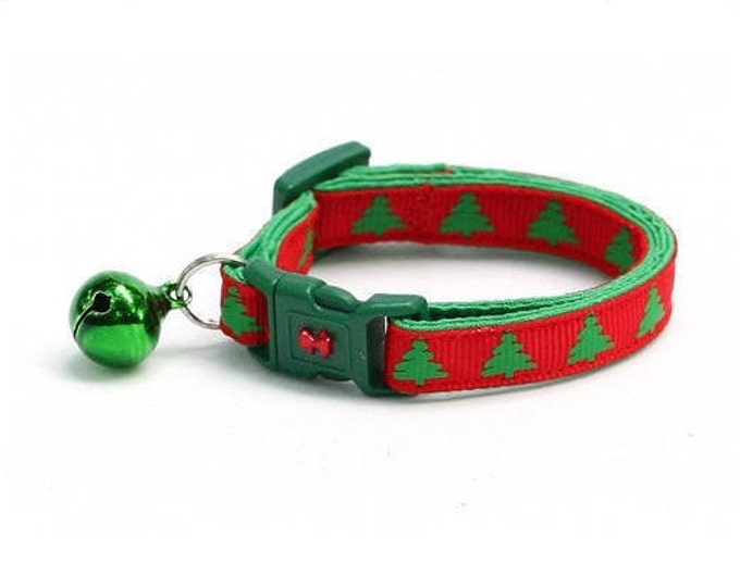 Christmas Cat Collar - Green Christmas Trees on Red - Kitten or Large Size