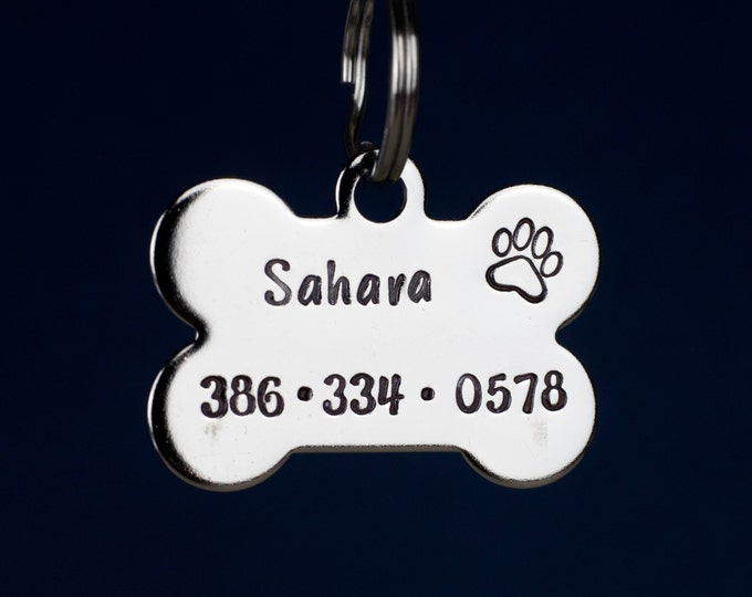 "Bone Dog Tag - 1.25"" Stainless Steel Bone Shaped Tag  - Hand Stamped pet ID Tag"
