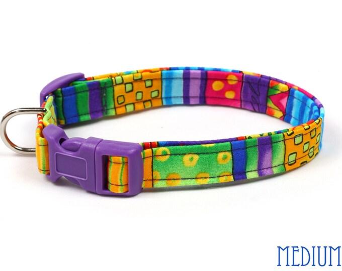 Colorful Dog Collar - Happy Go Lucky Stripes - Mini Small Medium Large XL Dog Collar