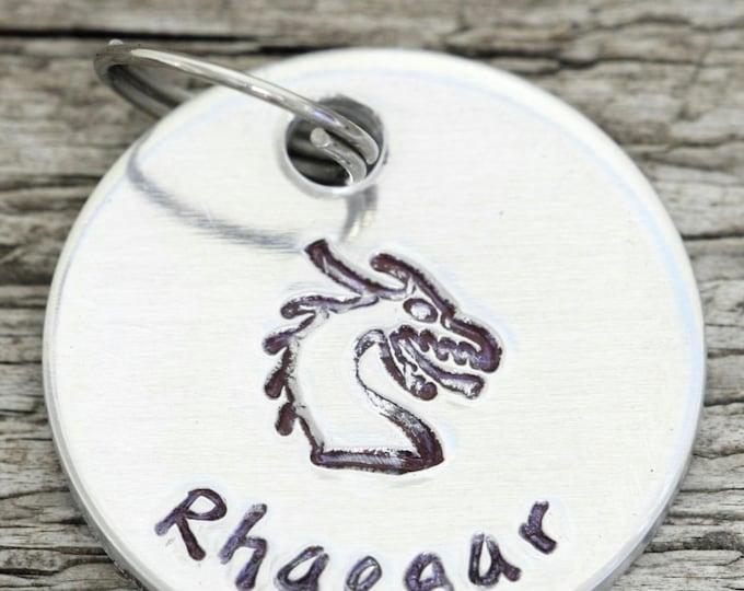 "Dragon Dog Tag - 7/8"" Aluminum Dragon Cat Tag  - Hand Stamped pet ID Tag"