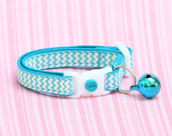 Chevron Cat Collar - Tropical Blue Chevrons - Small Cat / Kitten Size or large Size