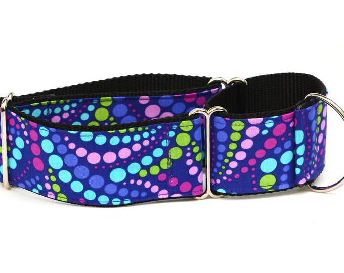 "Greyhound Dog Collar - Grape Soda Polka Dots - 2"" Martingale Dog Collar"