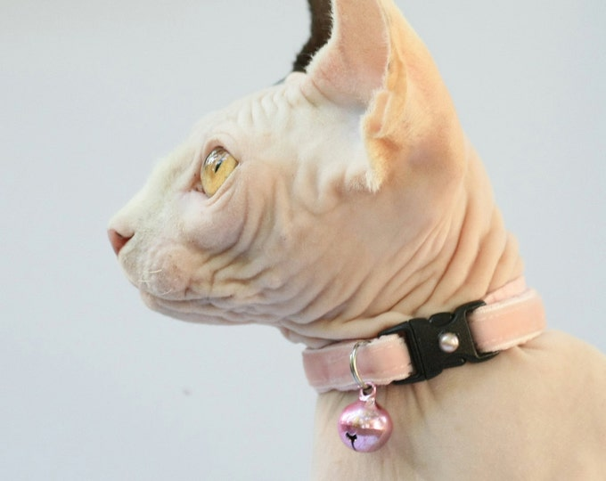 Soft Velvet Cat Collar - Cotton Candy Pink - Kitten or Large Size