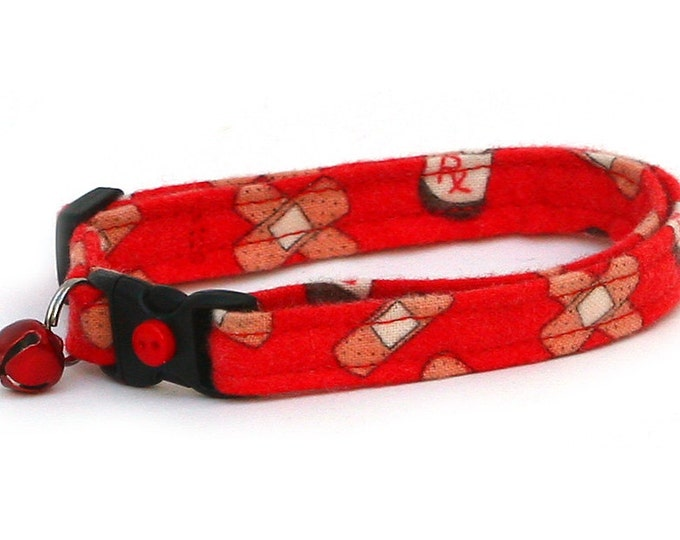 Doctor Cat Collar - Bandages and Medicine on Red - Kitten or Large Size