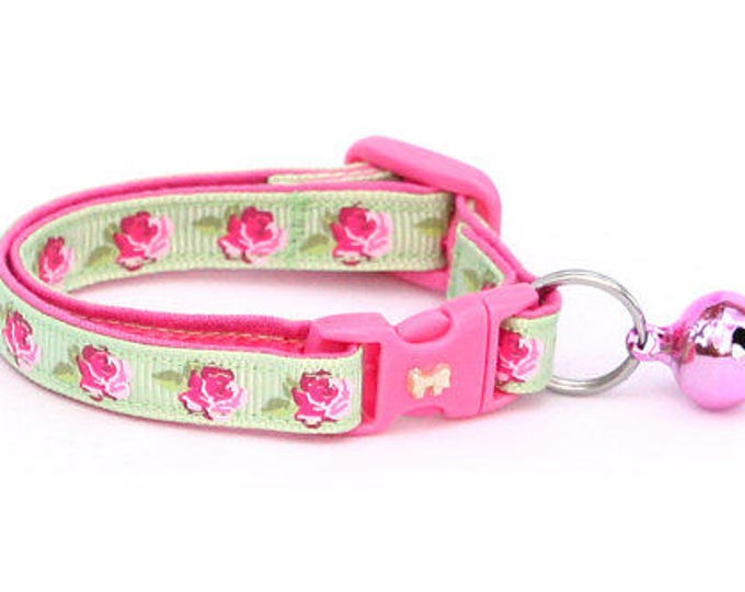 Floral Cat Collar - Pink Tea Party Roses on Green- Small Cat / Kitten Size or Large Size B64D40