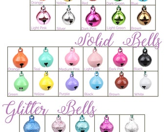 Cat Bells - Standard Round Jingle Bells - Cat Collar Bells - Glitter, Shiny, and Solid