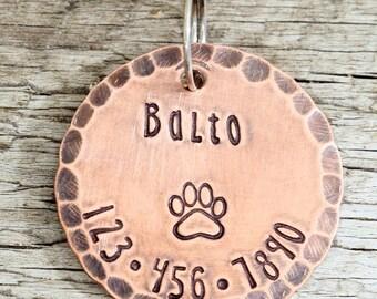 """Custom Pet Tag - 1"""" Copper Dog ID Tag - Hand Stamped Cat ID Tag"""
