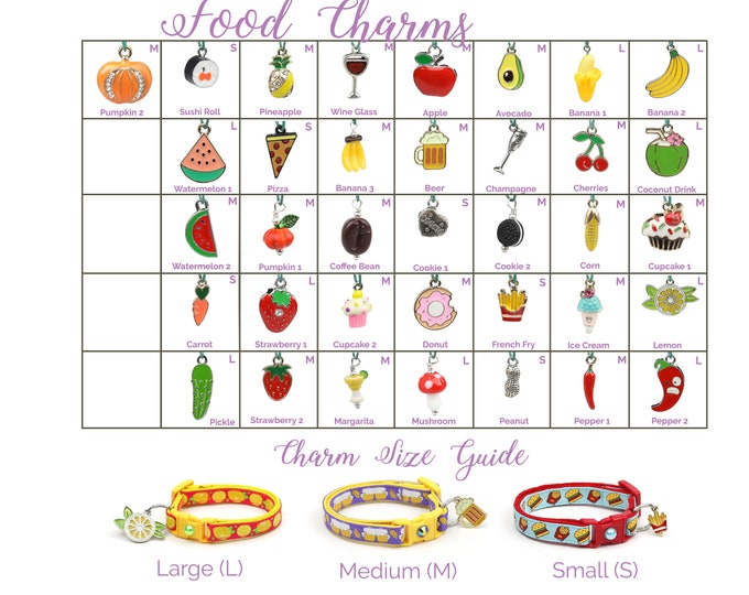Collar Charms - Food Charms - Snacks - Extra Charms for Cat Collars - Bling - Jewelry