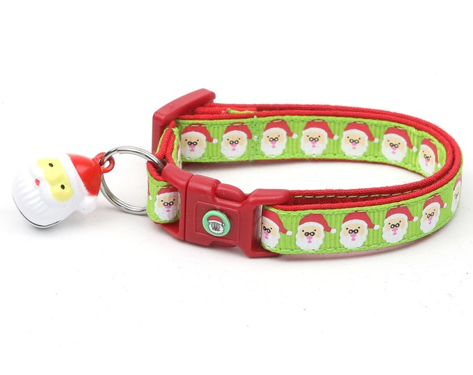 Christmas Cat Collar - Jolly Santa Faces on Green - Kitten or Large Size