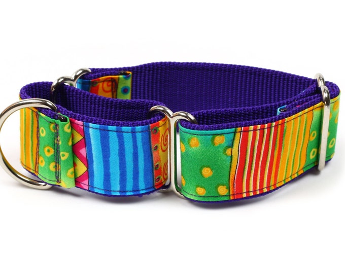 "Whippet Dog Collar - Happy Go Lucky Stripe - 1.5"" Martingale Dog Collar"