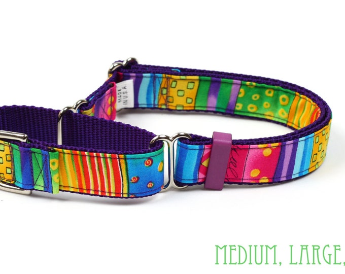 Martingale Dog Collar - Happy Go Lucky Stripe - Small, Medium, Large & X-Large