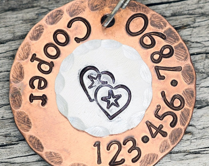 "Custom Pet Tag - Hearts and Stars - 1"" Copper Dog ID Tag - Hand Stamped Cat ID Tag"