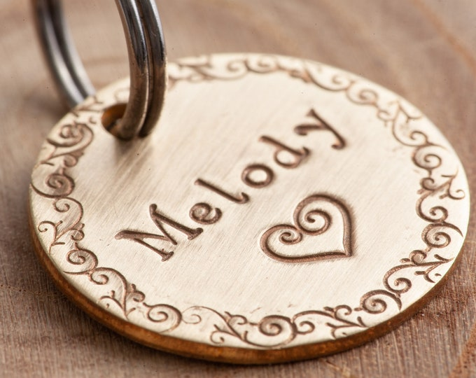 "Heart Pet ID Tag - Small pet tag - 7/8"" brass Pet ID Tag - Hand Stamped Cat ID Tag -Dog tag - love pet tag - Brass (gold color) tag"