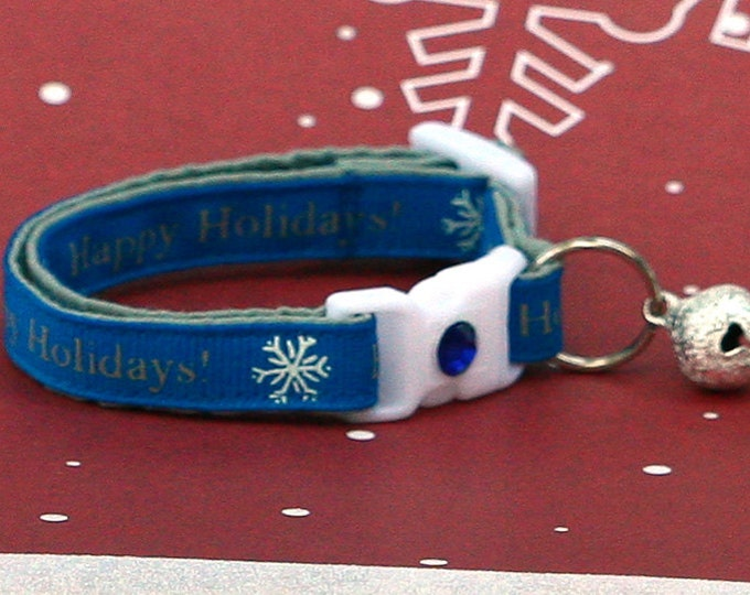 Holiday Cat Collar - Happy Holidays on Blue - Kitten or Large Size
