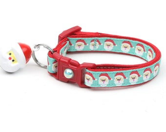 Christmas Cat Collar - Jolly Santa Faces on Aqua - Kitten or Large Size B109D48