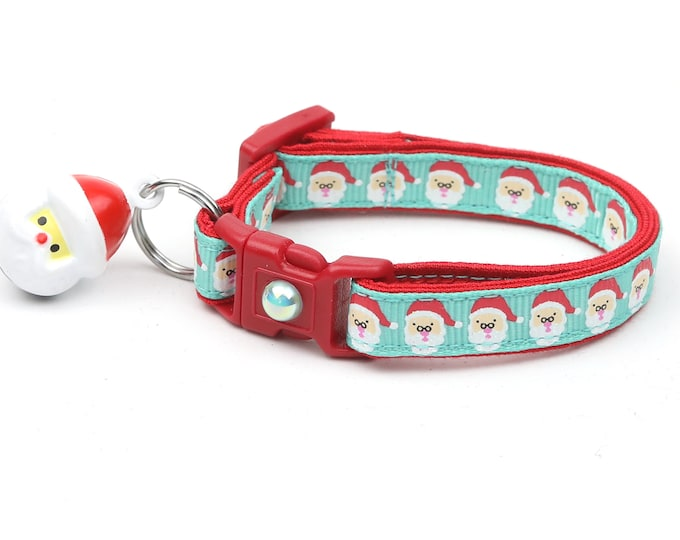 Christmas Cat Collar - Jolly Santa Faces on Aqua - Kitten or Large Size