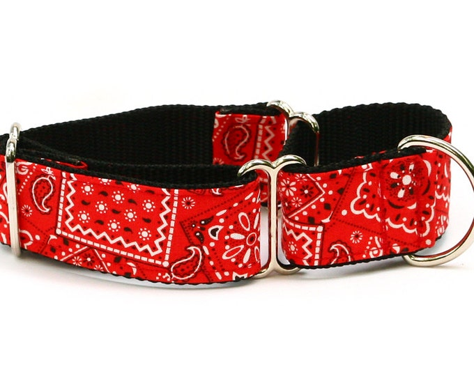 "Whippet Dog Collar - Red Bandana Paisley - 1.5"" Martingale Dog Collar"