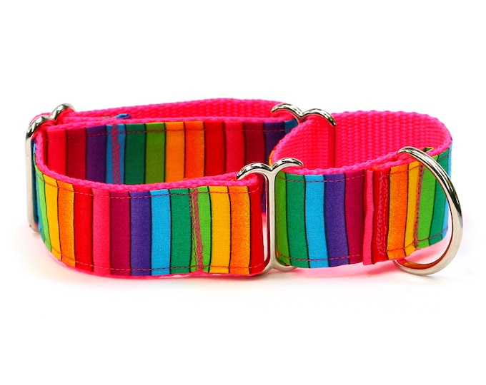 "Whippet Dog Collar - Bright Rainbow Stripes - 1.5"" Martingale Dog Collar"