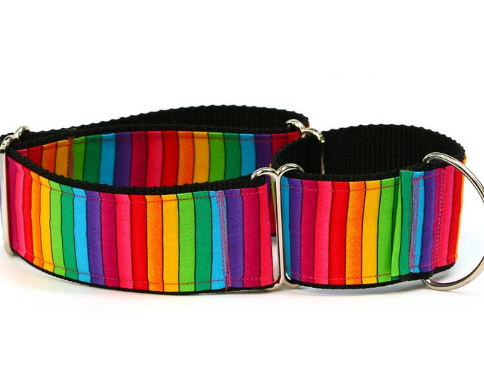 "Greyhound Dog Collar - Bright Rainbow Stripes - 2"" Martingale Dog Collar"