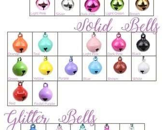 Cat Bells - Standard Round Jingle Bells - Cat Collar Bells - Glitter, Shiny, and Solid