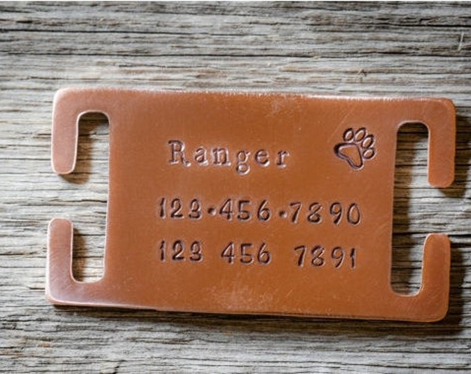 "Custom Dog Tag - Tag for 3/4"" or 1"" Collar - Hand Stamped pet ID Tag - Collar Tag"
