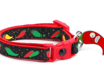Pepper Cat Collar - Spicy Peppers on Black - Small Cat / Kitten Size or Large Size B127D26